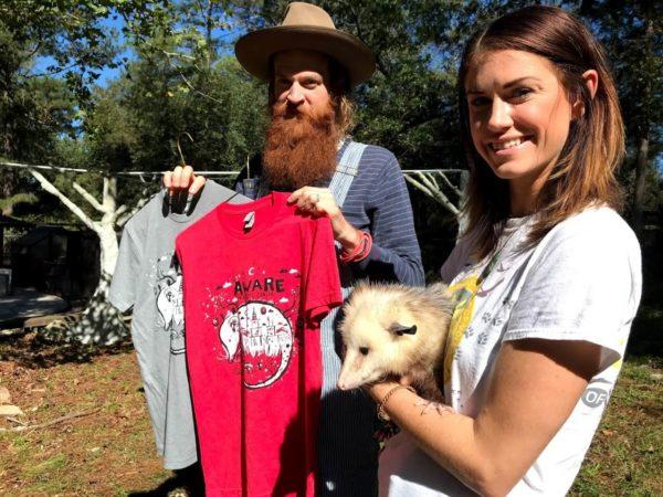 BlackCatTips, volunteer Ambassador Handler Tamara, and Skulli the possum